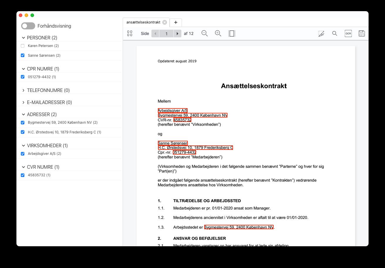 AnteAnonymous skærmbillede med redigeret ansættelseskontrakt